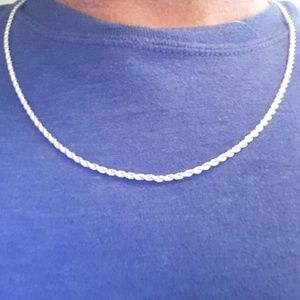 Silver 2mm Twisted Rope Necklace